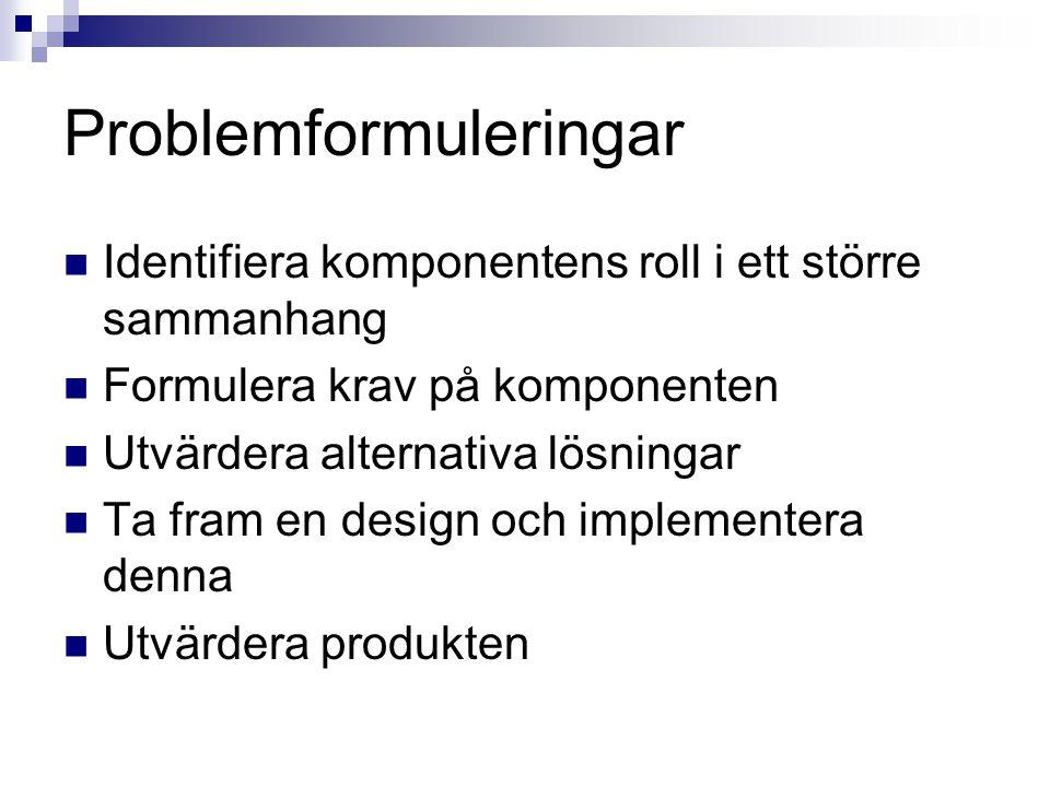 Problemformuleringar Identifiera komponentens roll i ett större sammanhang Formulera krav på komponenten Utvärdera alternativa lösningar Ta fram en de