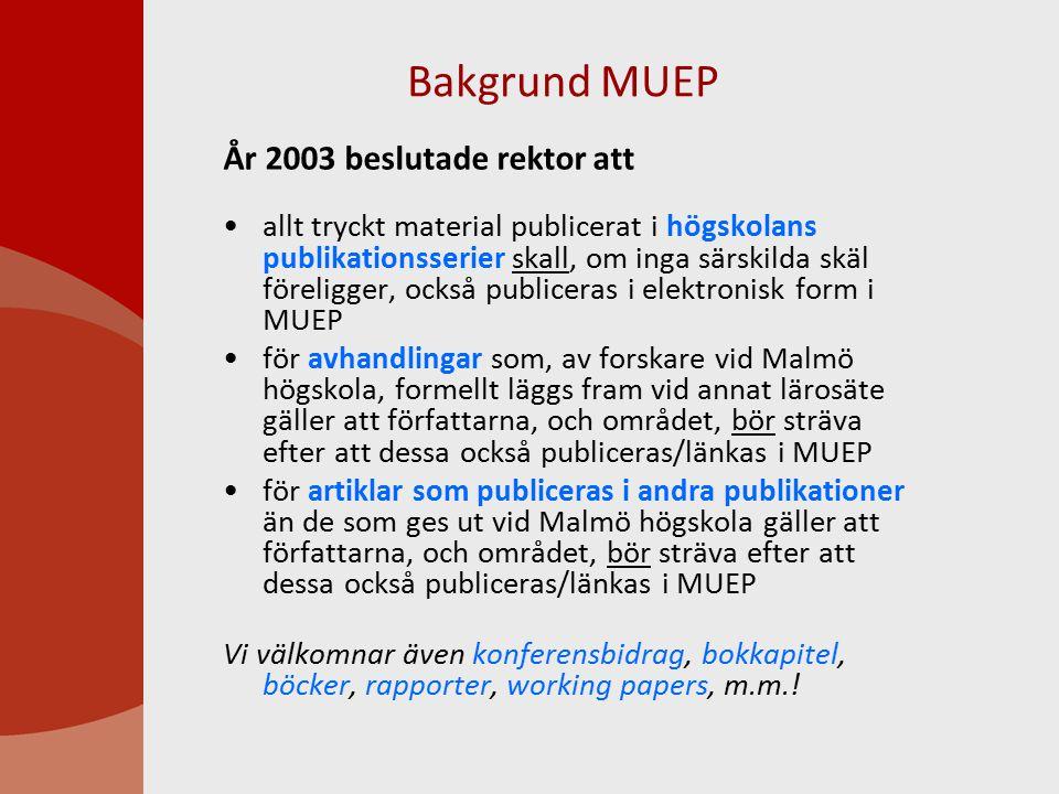 Bakgrund MUEP År 2003 beslutade rektor att allt tryckt material publicerat i högskolans publikationsserier skall, om inga särskilda skäl föreligger, också publiceras i elektronisk form i MUEP för avhandlingar som, av forskare vid Malmö högskola, formellt läggs fram vid annat lärosäte gäller att författarna, och området, bör sträva efter att dessa också publiceras/länkas i MUEP för artiklar som publiceras i andra publikationer än de som ges ut vid Malmö högskola gäller att författarna, och området, bör sträva efter att dessa också publiceras/länkas i MUEP Vi välkomnar även konferensbidrag, bokkapitel, böcker, rapporter, working papers, m.m.!