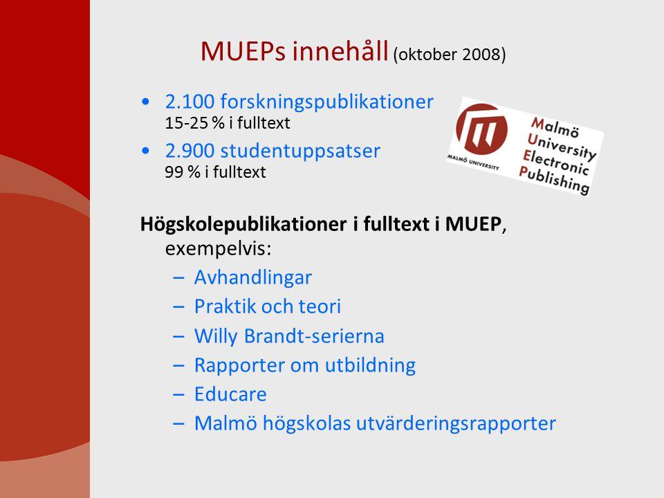 MUEPs innehåll (oktober 2008) 2.100 forskningspublikationer 15-25 % i fulltext 2.900 studentuppsatser 99 % i fulltext Högskolepublikationer i fulltext i MUEP, exempelvis: –Avhandlingar –Praktik och teori –Willy Brandt-serierna –Rapporter om utbildning –Educare –Malmö högskolas utvärderingsrapporter