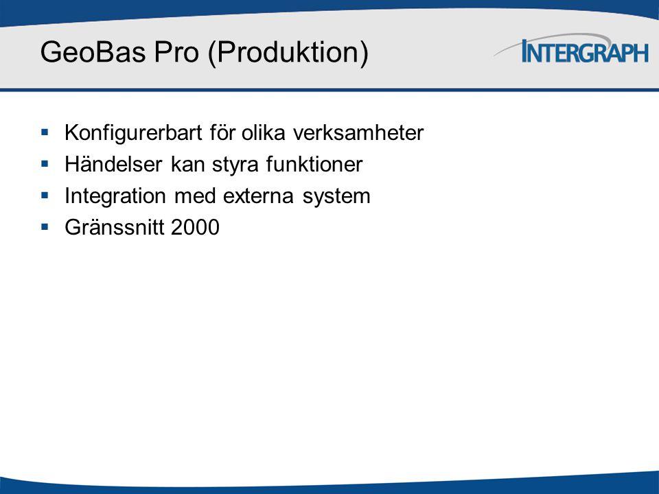 GeoBas Pro (Produktion)  Konfigurerbart för olika verksamheter  Händelser kan styra funktioner  Integration med externa system  Gränssnitt 2000