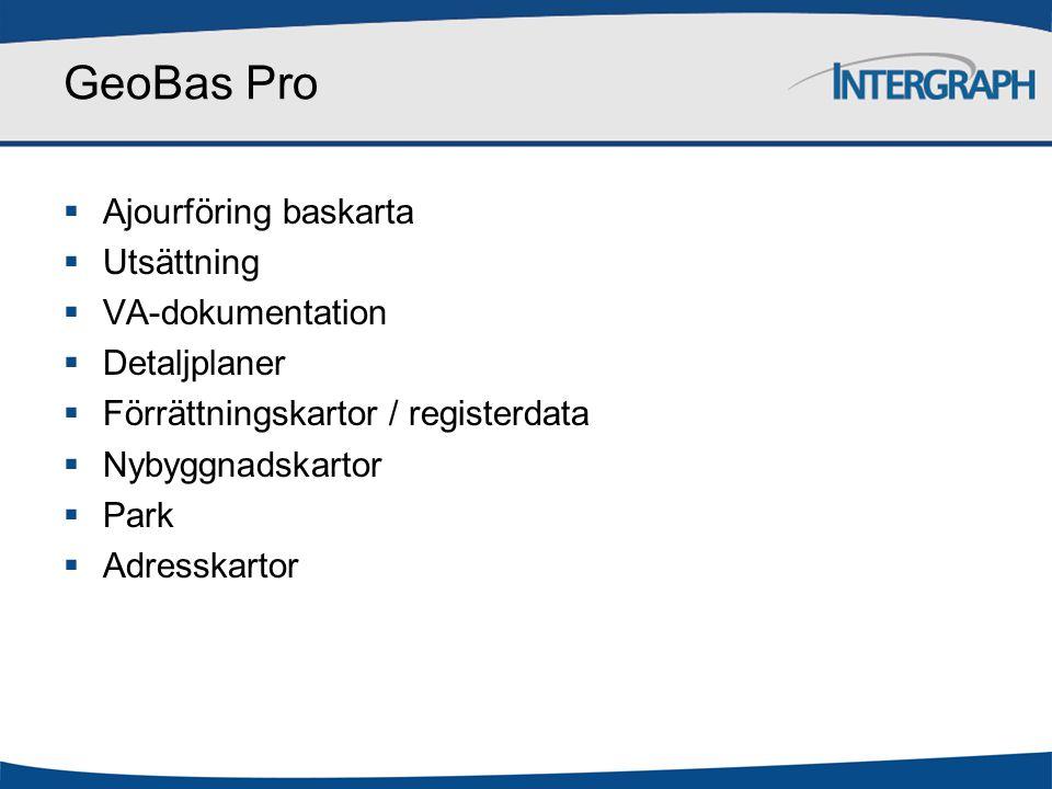 GeoBas Pro  Ajourföring baskarta  Utsättning  VA-dokumentation  Detaljplaner  Förrättningskartor / registerdata  Nybyggnadskartor  Park  Adresskartor