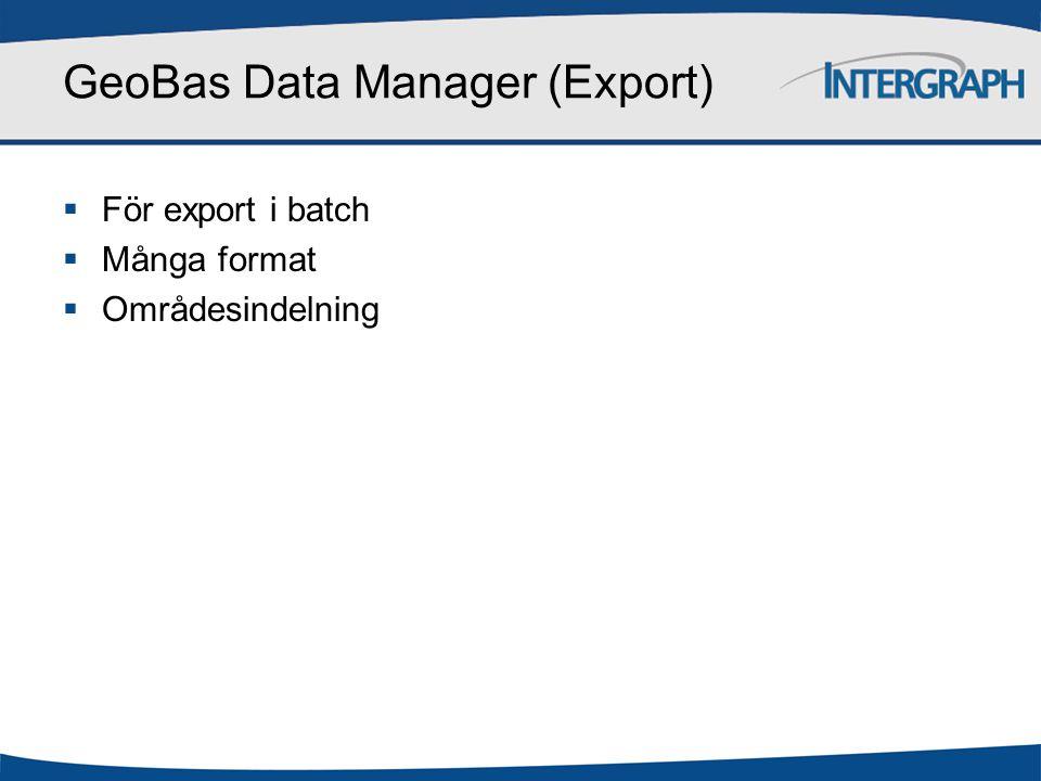 GeoBas Data Manager Export Externa data GeoBas systemskiss Geodatabas Inställningar och regelverk Filer Register Kartor GeoBas Admin CAD Konfiguration GeoMedia GIS GeoBas Pro Produktion GeoBas Web Tittskåp