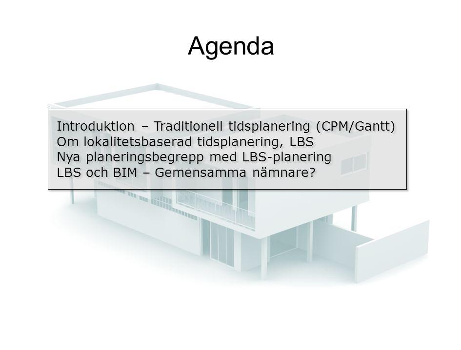 Agenda Introduktion – Traditionell tidsplanering (CPM/Gantt) Om lokalitetsbaserad tidsplanering, LBS Nya planeringsbegrepp med LBS-planering LBS och BIM – Gemensamma nämnare.