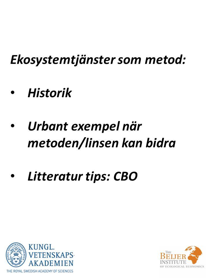 Ekosystemtjänster som metod: Historik Urbant exempel när metoden/linsen kan bidra Litteratur tips: CBO