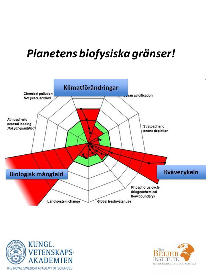 Planetens biofysiska gränser! Biologisk mångfald Kvävecykeln Klimatförändringar
