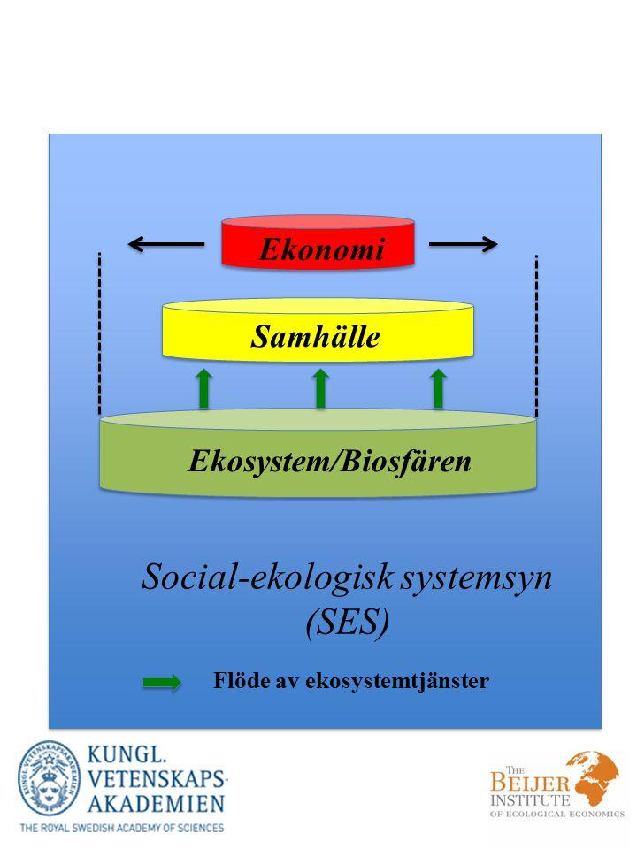 Ekosystem/Biosfären Ekonomi Samhälle Social-ekologisk systemsyn (SES) Flöde av ekosystemtjänster