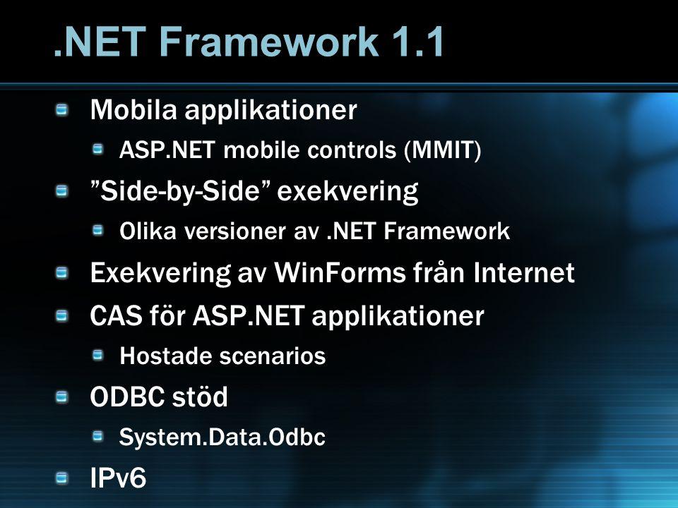 .NET Framework 1.1 Mobila applikationer ASP.NET mobile controls (MMIT) Side-by-Side exekvering Olika versioner av.NET Framework Exekvering av WinForms från Internet CAS för ASP.NET applikationer Hostade scenarios ODBC stöd System.Data.Odbc IPv6