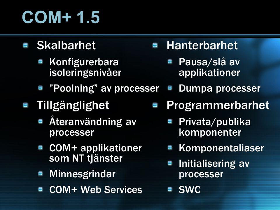 """COM+ 1.5 Skalbarhet Konfigurerbara isoleringsnivåer """"Poolning"""" av processer Tillgänglighet Återanvändning av processer COM+ applikationer som NT tjäns"""