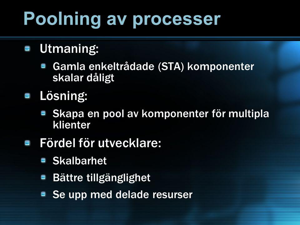 Poolning av processer Utmaning: Gamla enkeltrådade (STA) komponenter skalar dåligt Lösning: Skapa en pool av komponenter för multipla klienter Fördel