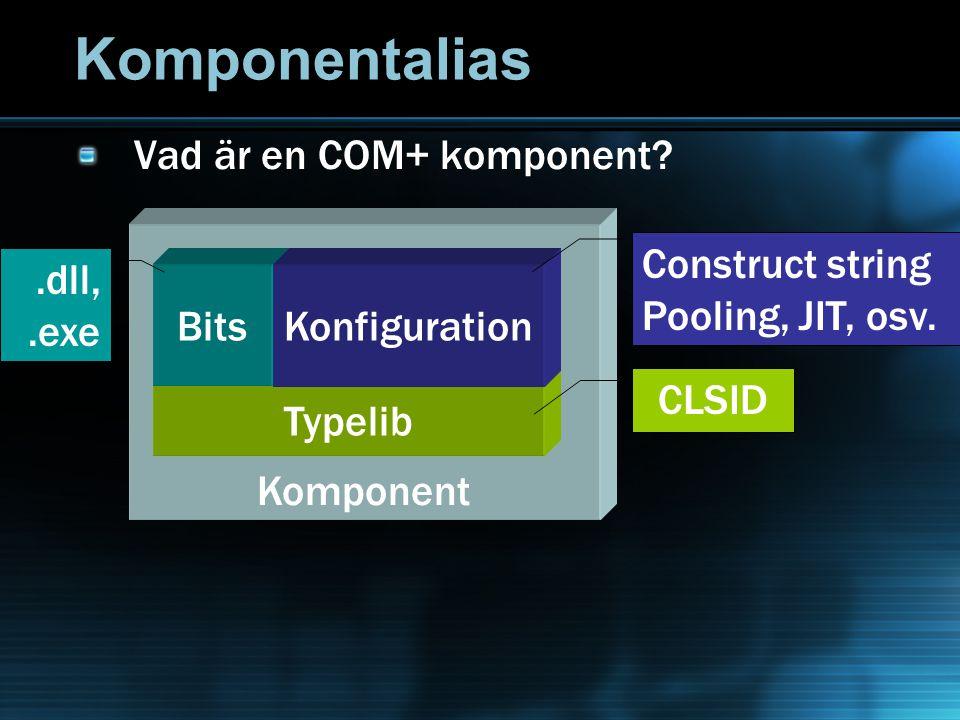 Komponentalias Vad är en COM+ komponent? Komponent Typelib CLSID Bits.dll,.exe Konfiguration Construct string Pooling, JIT, osv.