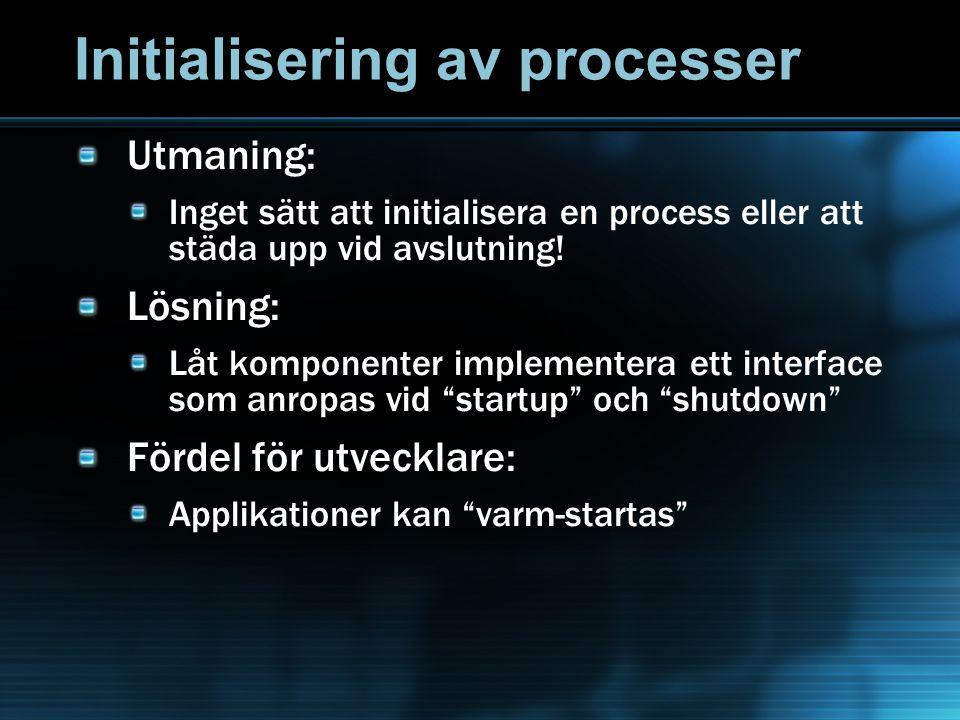Initialisering av processer Utmaning: Inget sätt att initialisera en process eller att städa upp vid avslutning! Lösning: Låt komponenter implementera