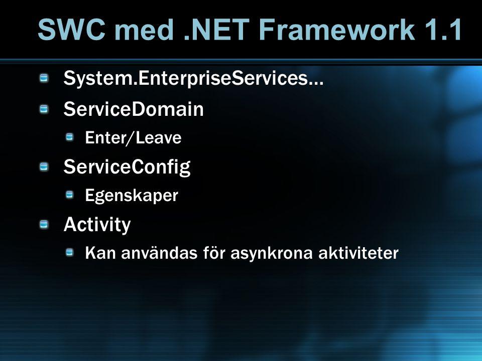 SWC med.NET Framework 1.1 System.EnterpriseServices… ServiceDomain Enter/Leave ServiceConfig Egenskaper Activity Kan användas för asynkrona aktivitete