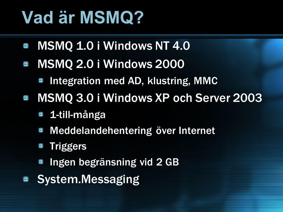 Vad är MSMQ? MSMQ 1.0 i Windows NT 4.0 MSMQ 2.0 i Windows 2000 Integration med AD, klustring, MMC MSMQ 3.0 i Windows XP och Server 2003 1-till-många M