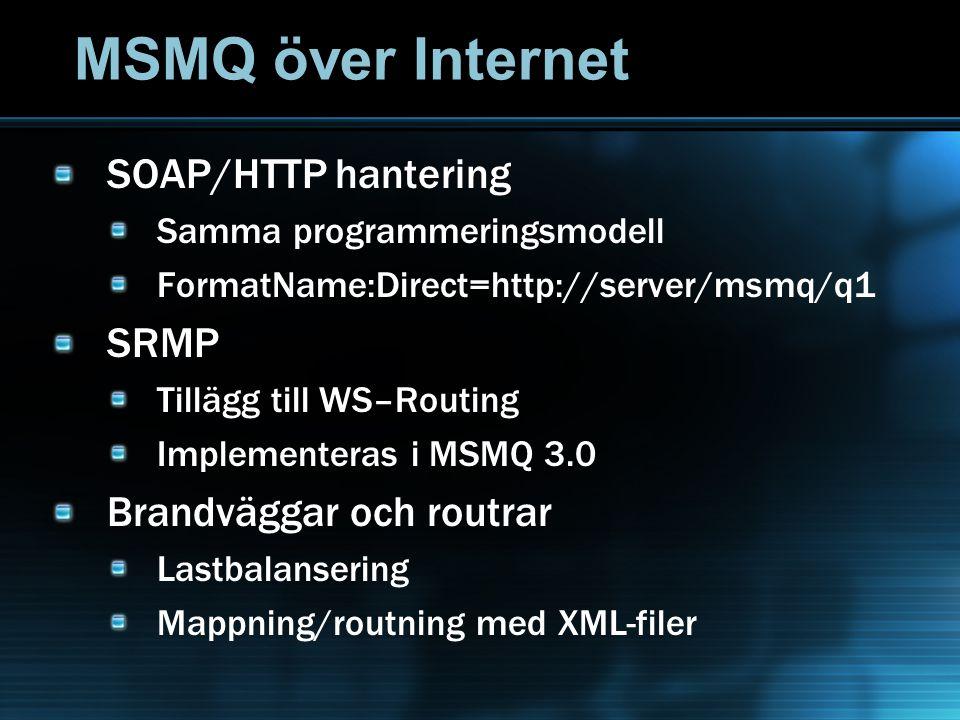 MSMQ över Internet SOAP/HTTP hantering Samma programmeringsmodell FormatName:Direct=http://server/msmq/q1 SRMP Tillägg till WS–Routing Implementeras i MSMQ 3.0 Brandväggar och routrar Lastbalansering Mappning/routning med XML-filer
