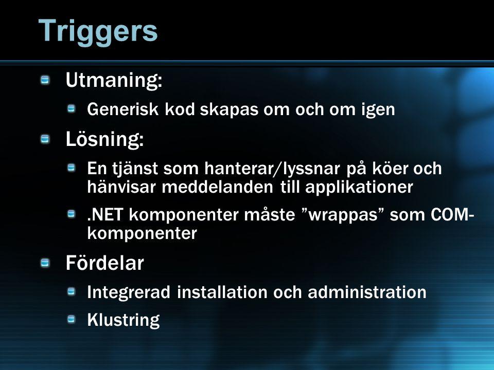 Triggers Utmaning: Generisk kod skapas om och om igen Lösning: En tjänst som hanterar/lyssnar på köer och hänvisar meddelanden till applikationer.NET