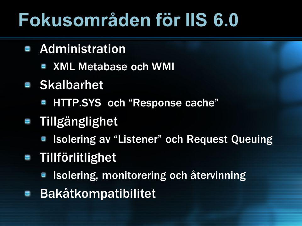 Fokusområden för IIS 6.0 Administration XML Metabase och WMI Skalbarhet HTTP.SYS och Response cache Tillgänglighet Isolering av Listener och Request Queuing Tillförlitlighet Isolering, monitorering och återvinning Bakåtkompatibilitet
