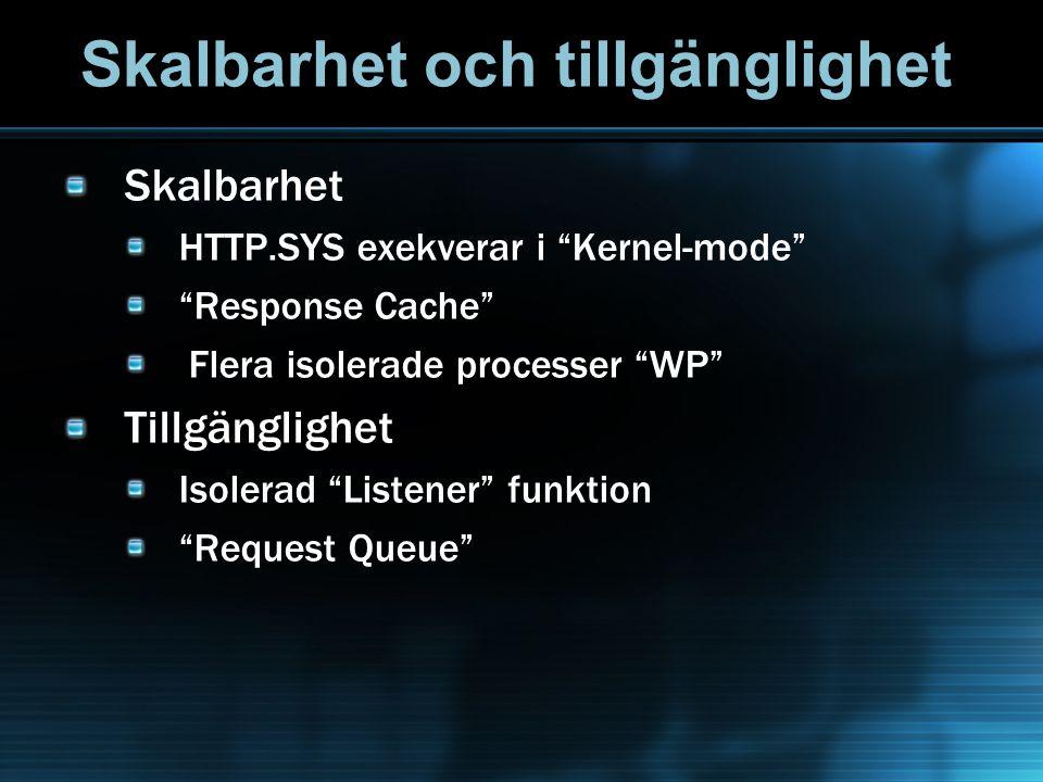 Skalbarhet och tillgänglighet Skalbarhet HTTP.SYS exekverar i Kernel-mode Response Cache Flera isolerade processer WP Tillgänglighet Isolerad Listener funktion Request Queue