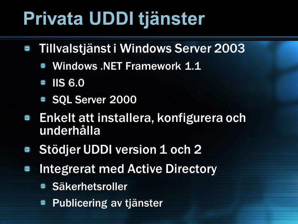 Privata UDDI tjänster Tillvalstjänst i Windows Server 2003 Windows.NET Framework 1.1 IIS 6.0 SQL Server 2000 Enkelt att installera, konfigurera och underhålla Stödjer UDDI version 1 och 2 Integrerat med Active Directory Säkerhetsroller Publicering av tjänster