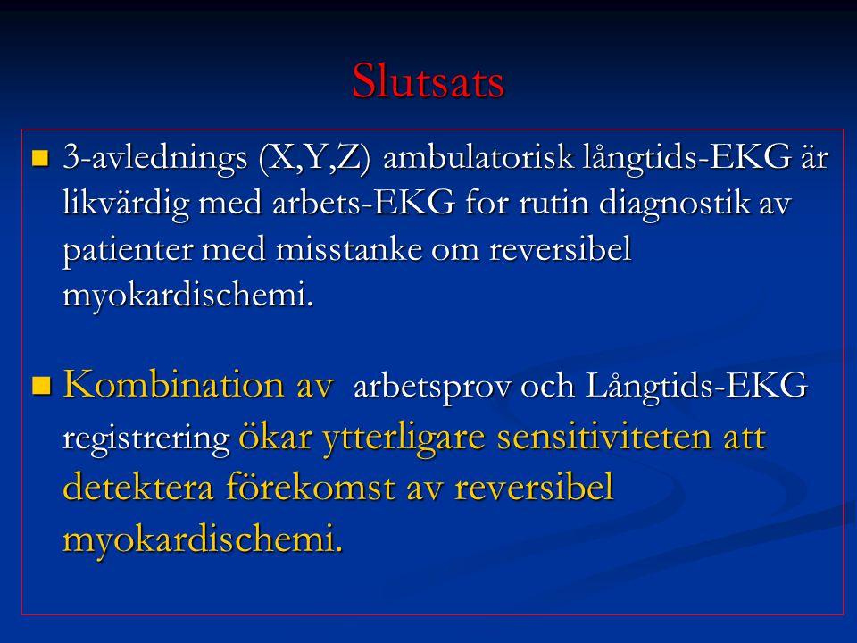 Slutsats 3-avlednings (X,Y,Z) ambulatorisk långtids-EKG är likvärdig med arbets-EKG for rutin diagnostik av patienter med misstanke om reversibel myok