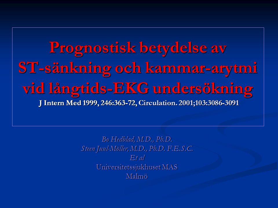 Prognostisk betydelse av ST-sänkning och kammar-arytmi vid långtids-EKG undersökning J Intern Med 1999, 246:363-72, Circulation. 2001;103:3086-3091 Bo