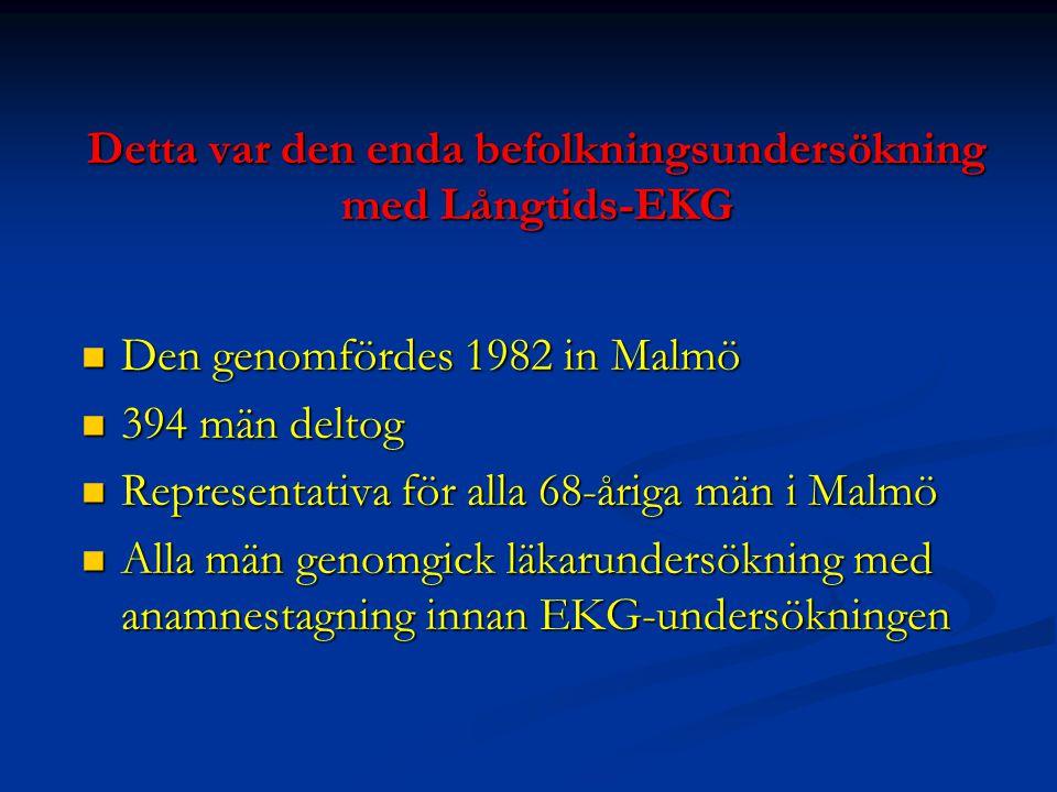 Detta var den enda befolkningsundersökning med Långtids-EKG Den genomfördes 1982 in Malmö Den genomfördes 1982 in Malmö 394 män deltog 394 män deltog