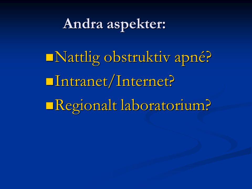 Andra aspekter: Nattlig obstruktiv apné? Nattlig obstruktiv apné? Intranet/Internet? Intranet/Internet? Regionalt laboratorium? Regionalt laboratorium