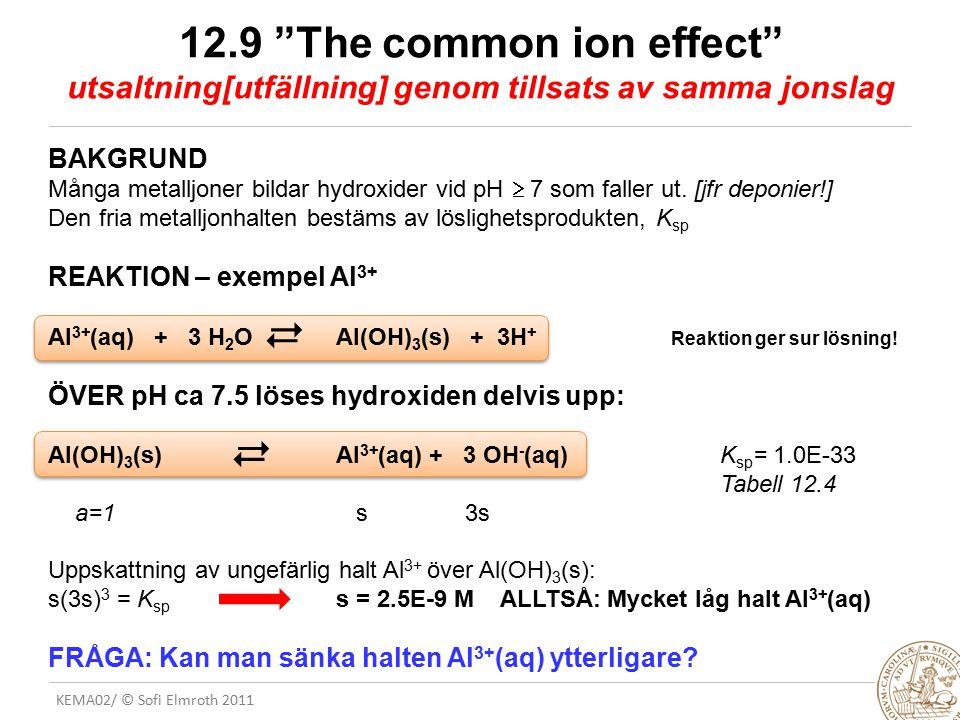 """KEMA02/ © Sofi Elmroth 2011 12.9 """"The common ion effect"""" utsaltning[utfällning] genom tillsats av samma jonslag BAKGRUND Många metalljoner bildar hydr"""