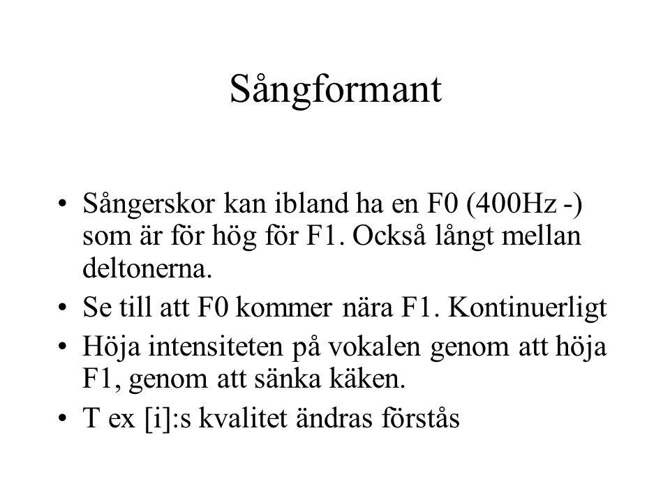 Sångformant Sångerskor kan ibland ha en F0 (400Hz -) som är för hög för F1. Också långt mellan deltonerna. Se till att F0 kommer nära F1. Kontinuerlig