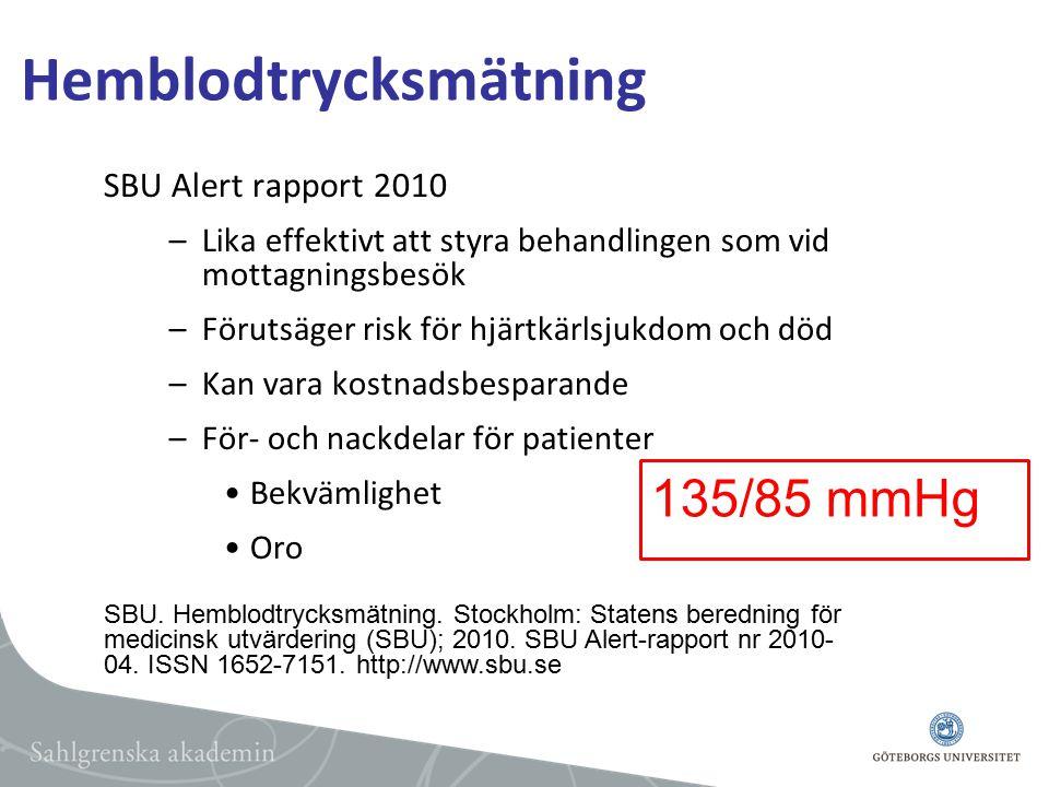 Hemblodtrycksmätning SBU Alert rapport 2010 –Lika effektivt att styra behandlingen som vid mottagningsbesök –Förutsäger risk för hjärtkärlsjukdom och död –Kan vara kostnadsbesparande –För- och nackdelar för patienter Bekvämlighet Oro SBU.