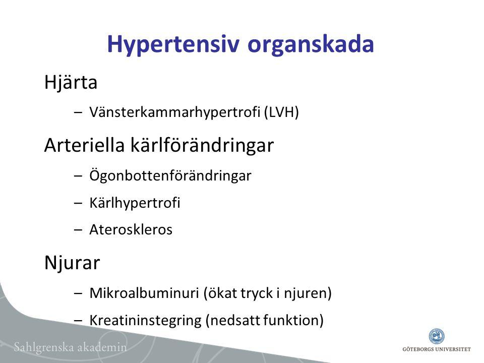 Hypertensiv organskada Hjärta –Vänsterkammarhypertrofi (LVH) Arteriella kärlförändringar –Ögonbottenförändringar –Kärlhypertrofi –Ateroskleros Njurar –Mikroalbuminuri (ökat tryck i njuren) –Kreatininstegring (nedsatt funktion)