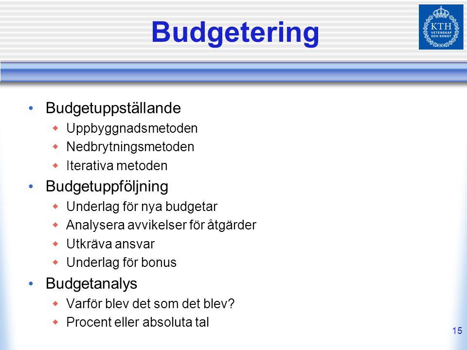 15 Budgetering Budgetuppställande  Uppbyggnadsmetoden  Nedbrytningsmetoden  Iterativa metoden Budgetuppföljning  Underlag för nya budgetar  Analy