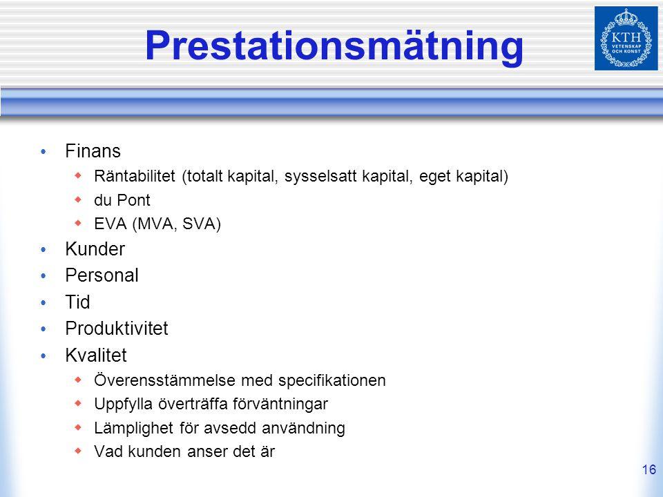 16 Prestationsmätning Finans  Räntabilitet (totalt kapital, sysselsatt kapital, eget kapital)  du Pont  EVA (MVA, SVA) Kunder Personal Tid Produkti