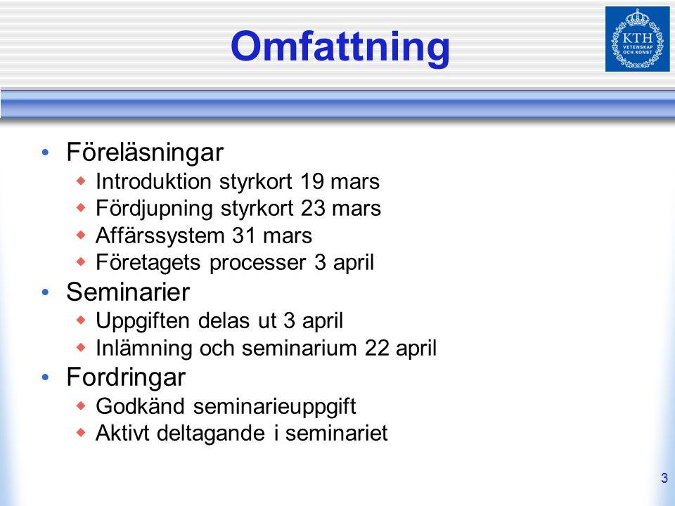 3 Omfattning Föreläsningar  Introduktion styrkort 19 mars  Fördjupning styrkort 23 mars  Affärssystem 31 mars  Företagets processer 3 april Semina