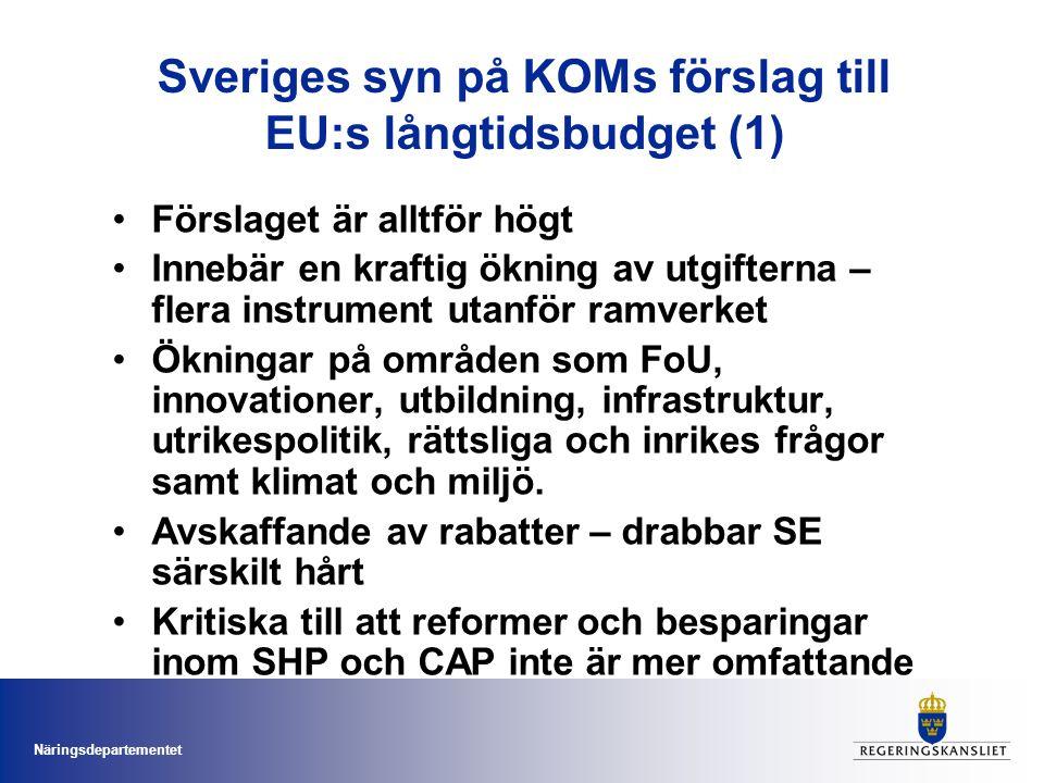 Sveriges syn på KOMs förslag till EU:s långtidsbudget (1) Förslaget är alltför högt Innebär en kraftig ökning av utgifterna – flera instrument utanför ramverket Ökningar på områden som FoU, innovationer, utbildning, infrastruktur, utrikespolitik, rättsliga och inrikes frågor samt klimat och miljö.
