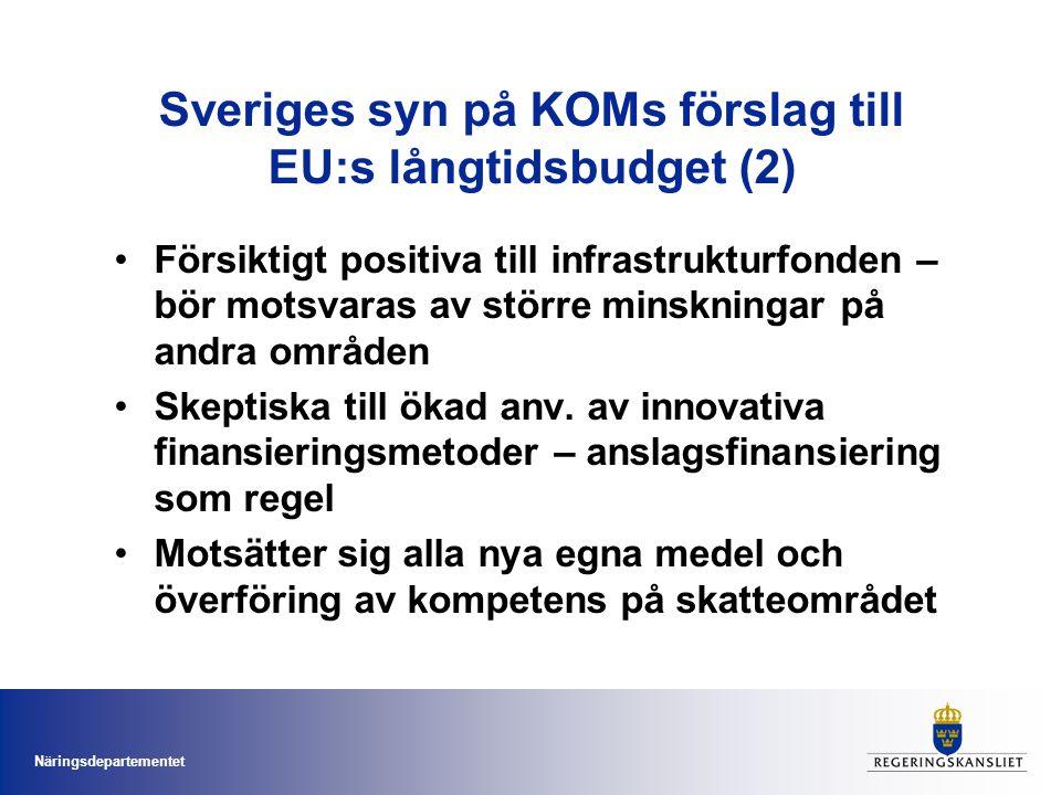 Näringsdepartementet Svenska regeringens syn på förordningsförslagen för SHP (1) Den totala budgeten för SHP minskas marginellt till 336 miljarder euro.