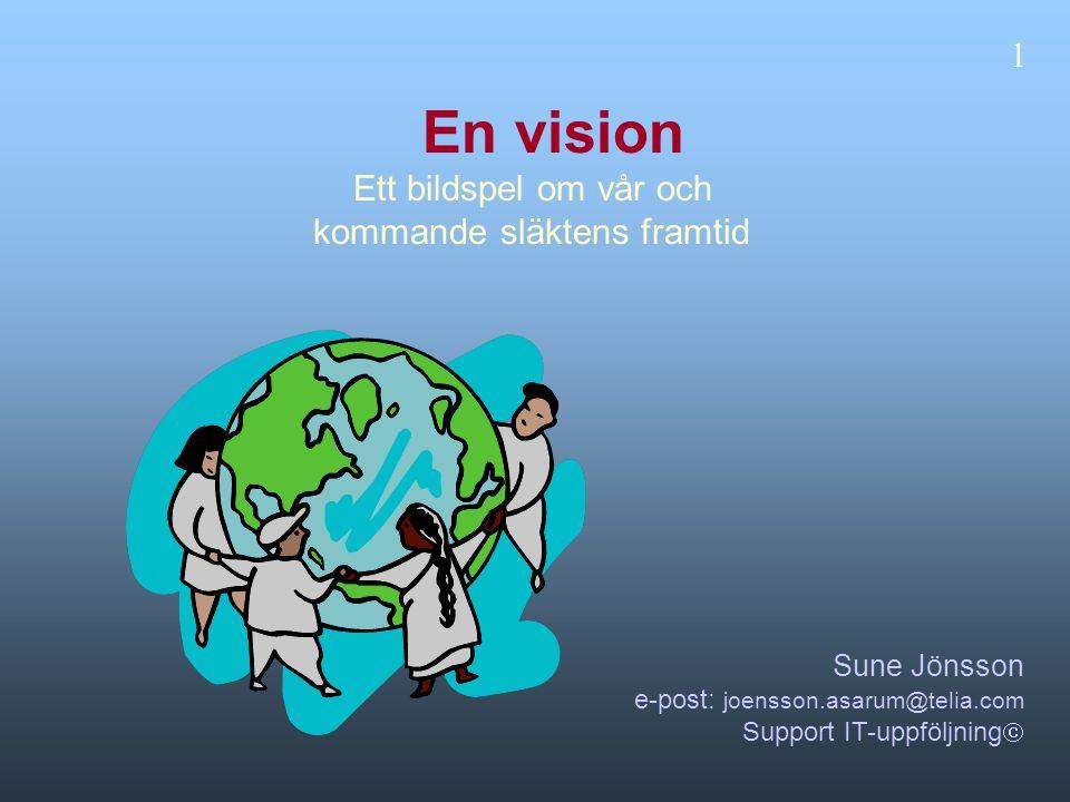 En vision Ett bildspel om vår och kommande släktens framtid Sune Jönsson e-post: joensson.asarum@telia.com Support IT-uppföljning  1