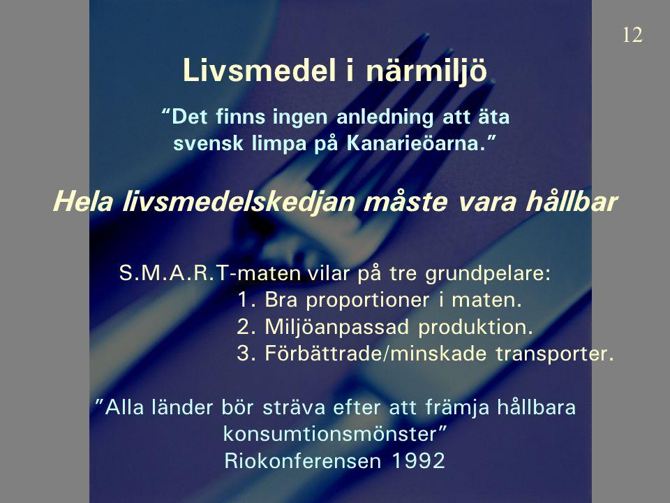 Livsmedel i närmiljö Det finns ingen anledning att äta svensk limpa på Kanarieöarna. Hela livsmedelskedjan måste vara hållbar S.M.A.R.T-maten vilar på tre grundpelare: 1.