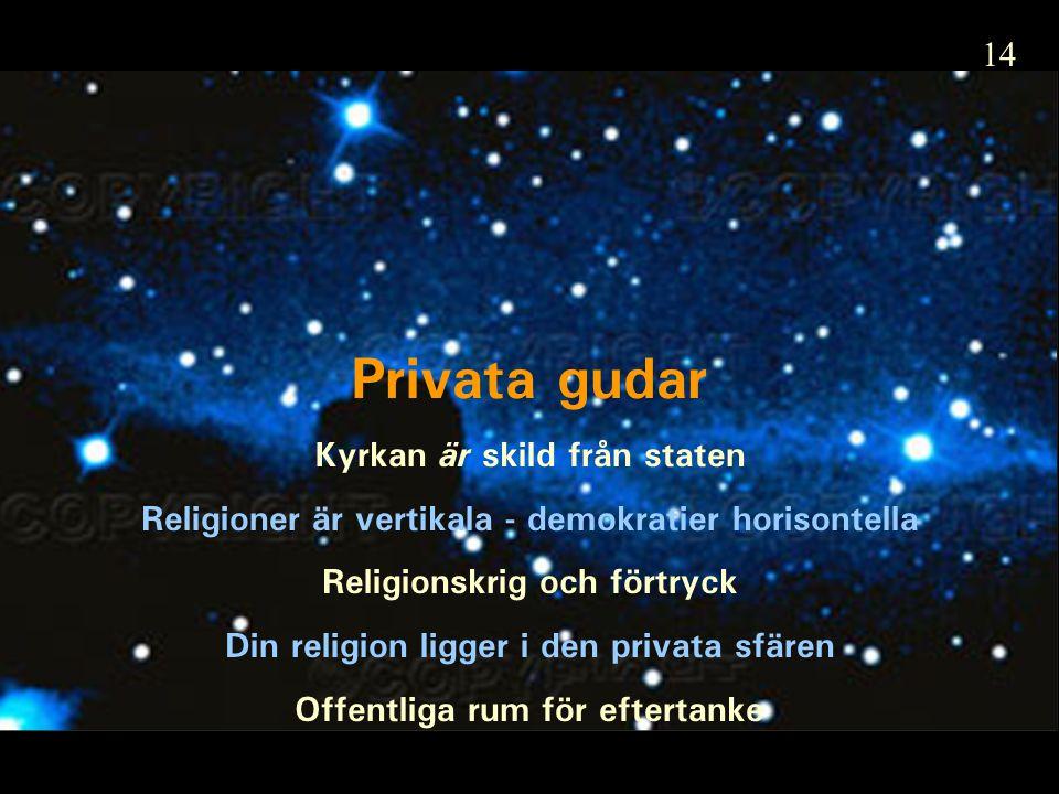 Privata gudar Kyrkan är skild från staten Religioner är vertikala - demokratier horisontella Religionskrig och förtryck Din religion ligger i den privata sfären Offentliga rum för eftertanke 14