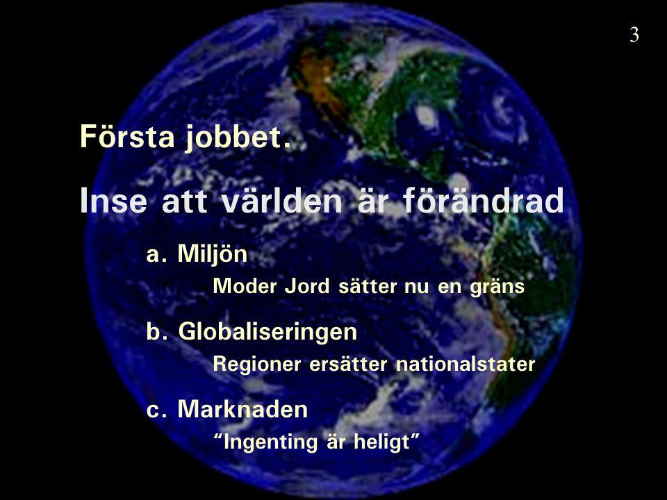 Första jobbet. Inse att världen är förändrad a. Miljön Moder Jord sätter nu en gräns b.