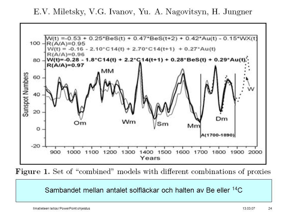 13.03.07Ilmatieteen laitos / PowerPoint ohjeistus24 Sambandet mellan antalet solfläckar och halten av Be eller 14 C