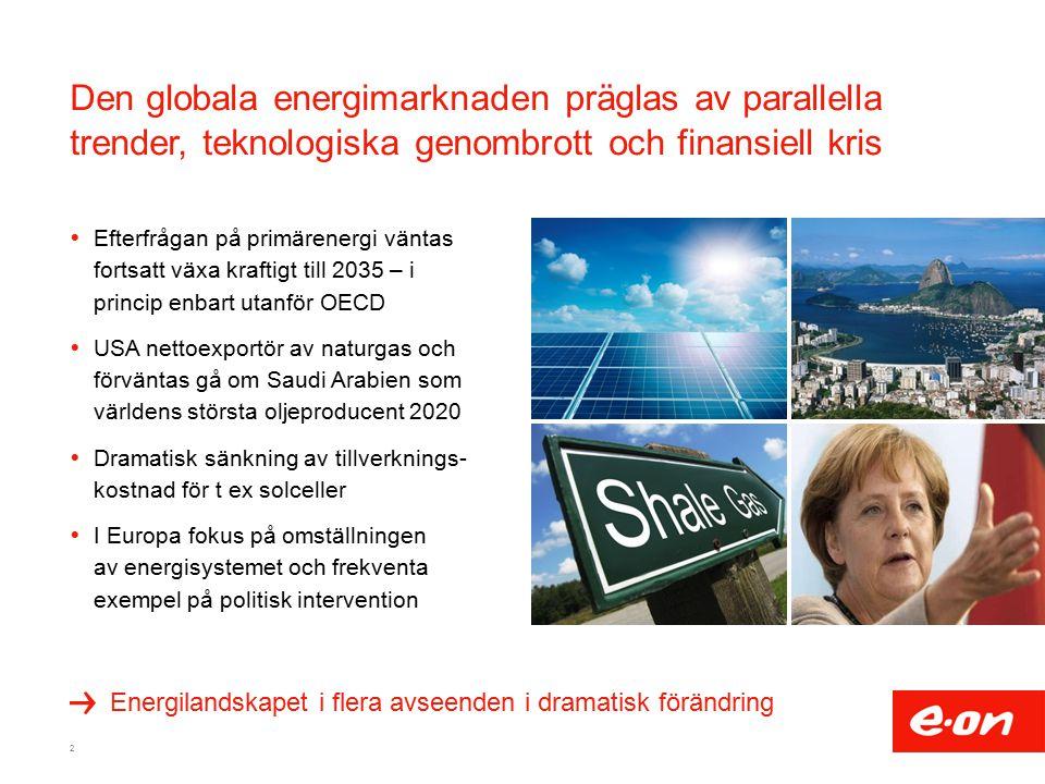 Den globala energimarknaden präglas av parallella trender, teknologiska genombrott och finansiell kris  Efterfrågan på primärenergi väntas fortsatt växa kraftigt till 2035 – i princip enbart utanför OECD  USA nettoexportör av naturgas och förväntas gå om Saudi Arabien som världens största oljeproducent 2020  Dramatisk sänkning av tillverknings- kostnad för t ex solceller  I Europa fokus på omställningen av energisystemet och frekventa exempel på politisk intervention 2 Energilandskapet i flera avseenden i dramatisk förändring