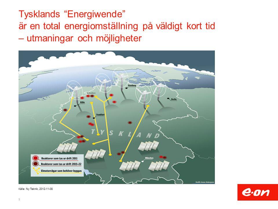Tysklands Energiwende är en total energiomställning på väldigt kort tid – utmaningar och möjligheter 3 Källa: Ny Teknik, 2012-11-08