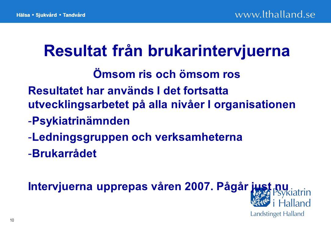 Hälsa Sjukvård Tandvård 10 Resultat från brukarintervjuerna Ömsom ris och ömsom ros Resultatet har används I det fortsatta utvecklingsarbetet på alla nivåer I organisationen -Psykiatrinämnden -Ledningsgruppen och verksamheterna -Brukarrådet Intervjuerna upprepas våren 2007.