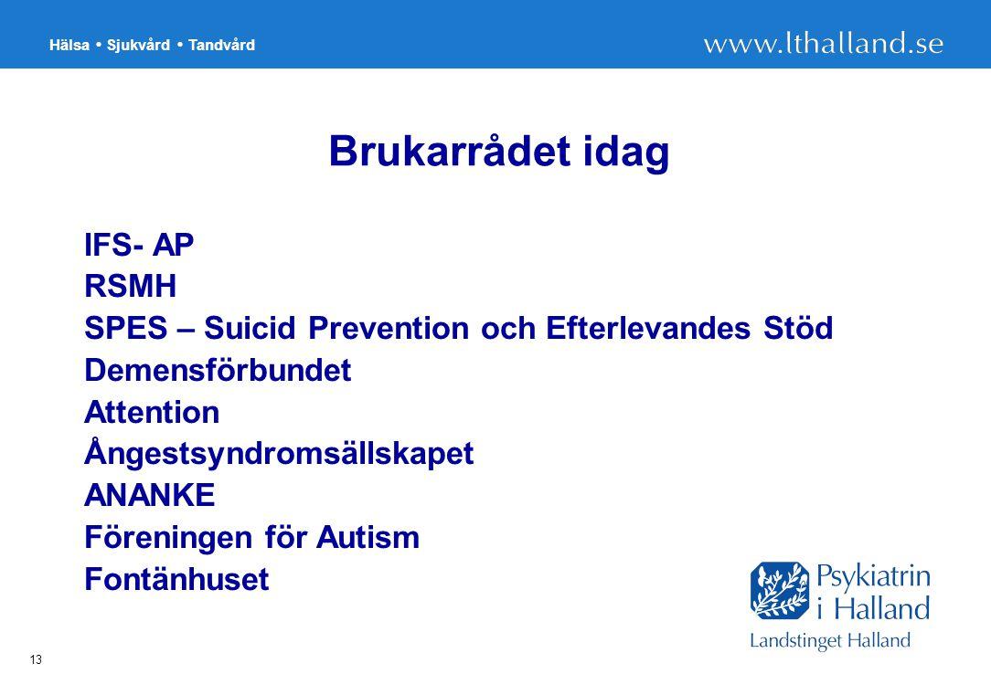 Hälsa Sjukvård Tandvård 13 Brukarrådet idag IFS- AP RSMH SPES – Suicid Prevention och Efterlevandes Stöd Demensförbundet Attention Ångestsyndromsällskapet ANANKE Föreningen för Autism Fontänhuset