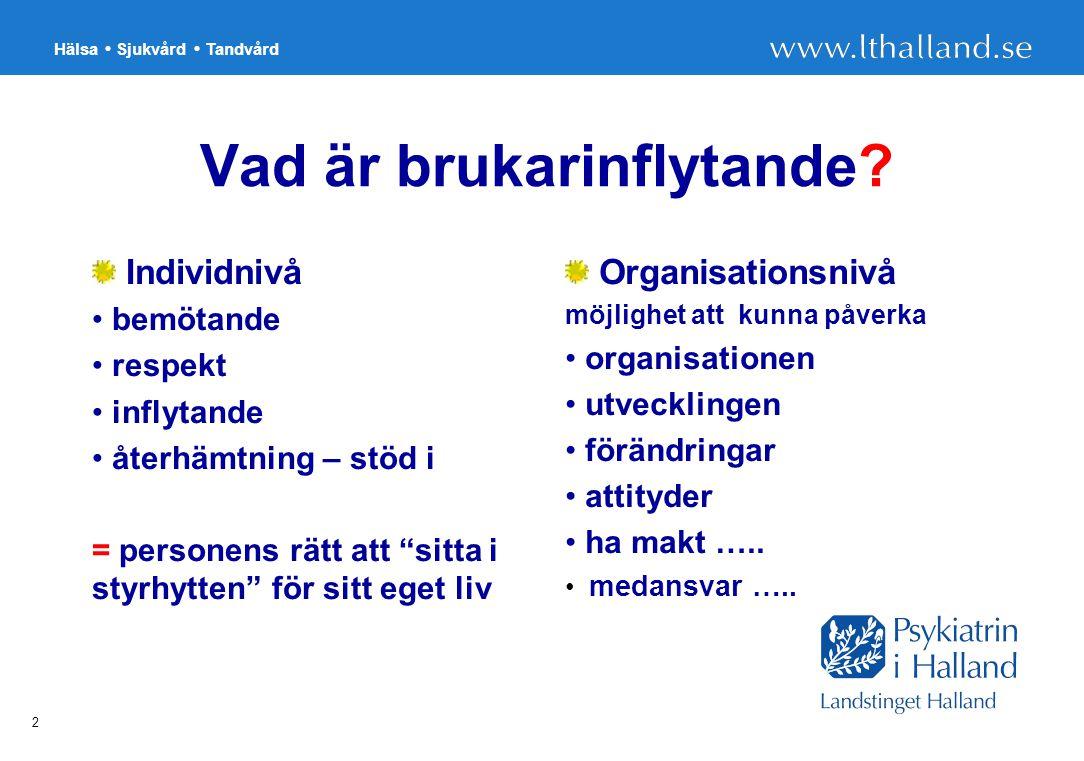 Hälsa Sjukvård Tandvård 2 Vad är brukarinflytande.