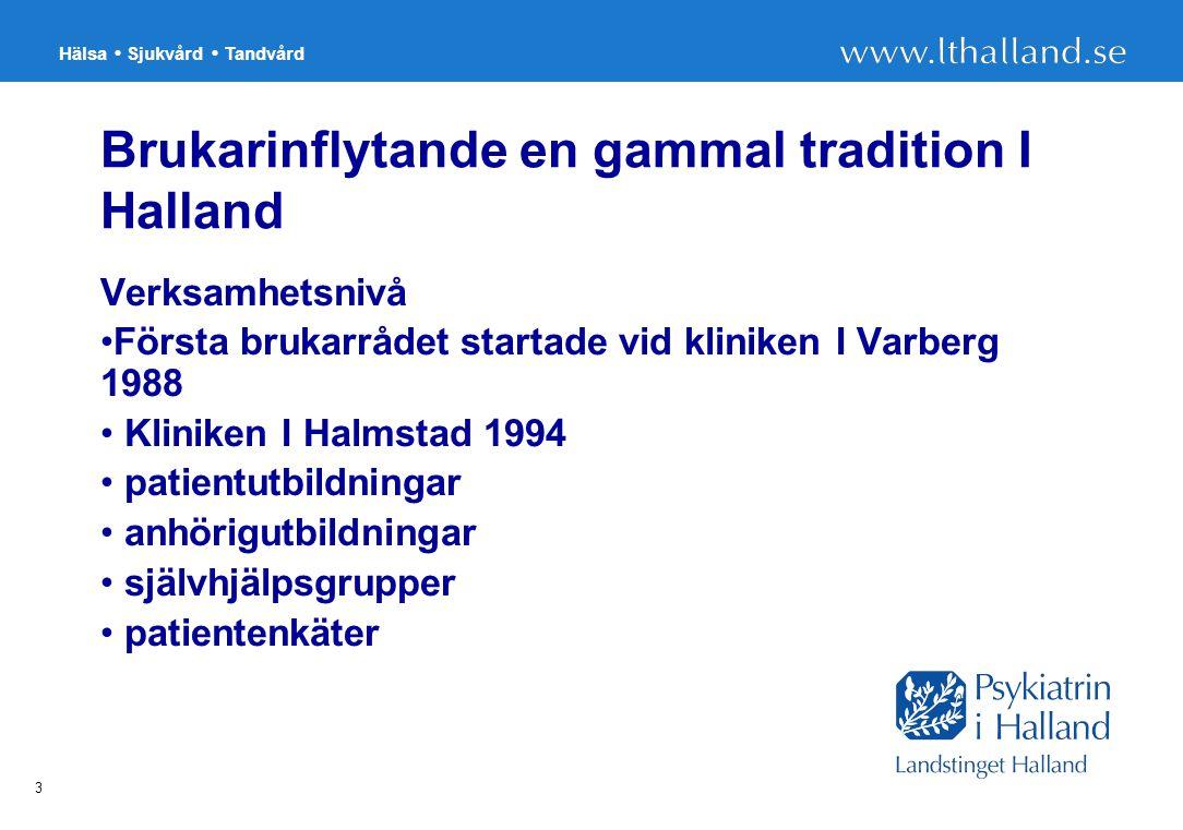 Hälsa Sjukvård Tandvård 3 Brukarinflytande en gammal tradition I Halland Verksamhetsnivå Första brukarrådet startade vid kliniken I Varberg 1988 Kliniken I Halmstad 1994 patientutbildningar anhörigutbildningar självhjälpsgrupper patientenkäter