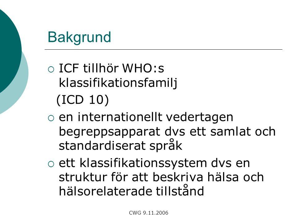 CWG 9.11.2006 Bakgrund  ICF tillhör WHO:s klassifikationsfamilj (ICD 10)  en internationellt vedertagen begreppsapparat dvs ett samlat och standardiserat språk  ett klassifikationssystem dvs en struktur för att beskriva hälsa och hälsorelaterade tillstånd