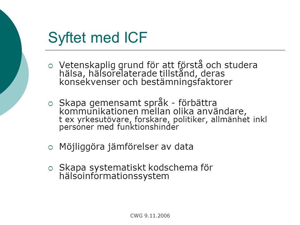 CWG 9.11.2006 Syftet med ICF  Vetenskaplig grund för att förstå och studera hälsa, hälsorelaterade tillstånd, deras konsekvenser och bestämningsfaktorer  Skapa gemensamt språk - förbättra kommunikationen mellan olika användare, t ex yrkesutövare, forskare, politiker, allmänhet inkl personer med funktionshinder  Möjliggöra jämförelser av data  Skapa systematiskt kodschema för hälsoinformationssystem