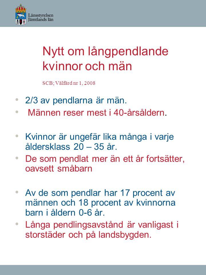 Nytt om långpendlande kvinnor och män SCB; Välfärd nr 1, 2008 2/3 av pendlarna är män. Männen reser mest i 40-årsåldern. Kvinnor är ungefär lika många