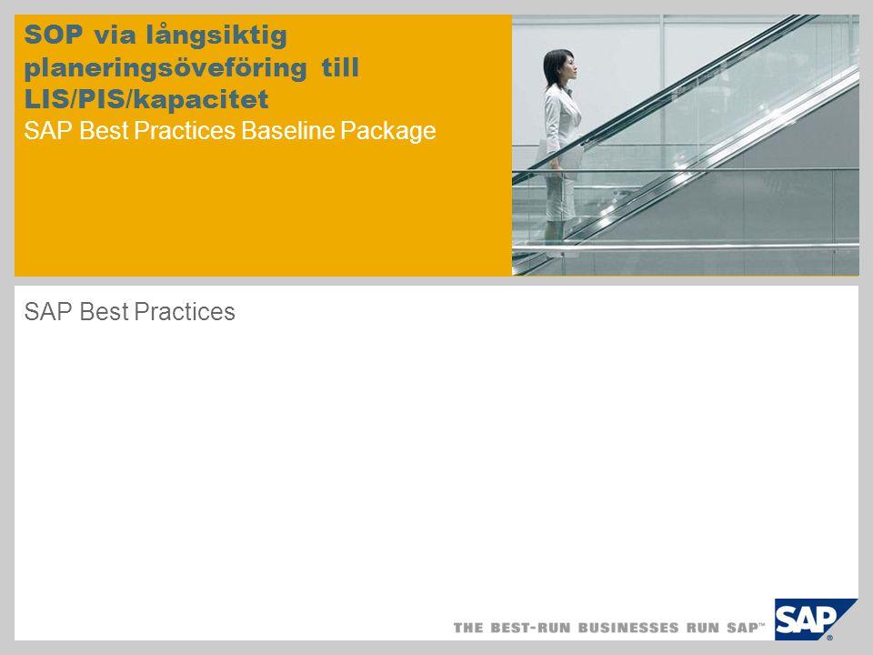 SOP via långsiktig planeringsöveföring till LIS/PIS/kapacitet SAP Best Practices Baseline Package SAP Best Practices